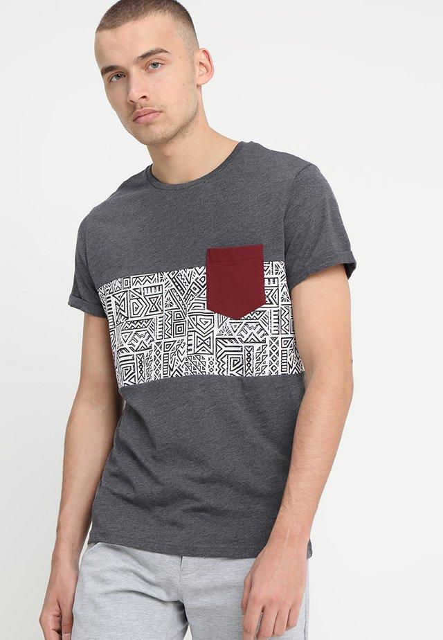 T-Shirt print - mottled dark grey