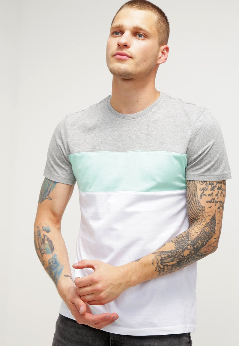 YOURTURN - Print T-shirt - mottled grey/white