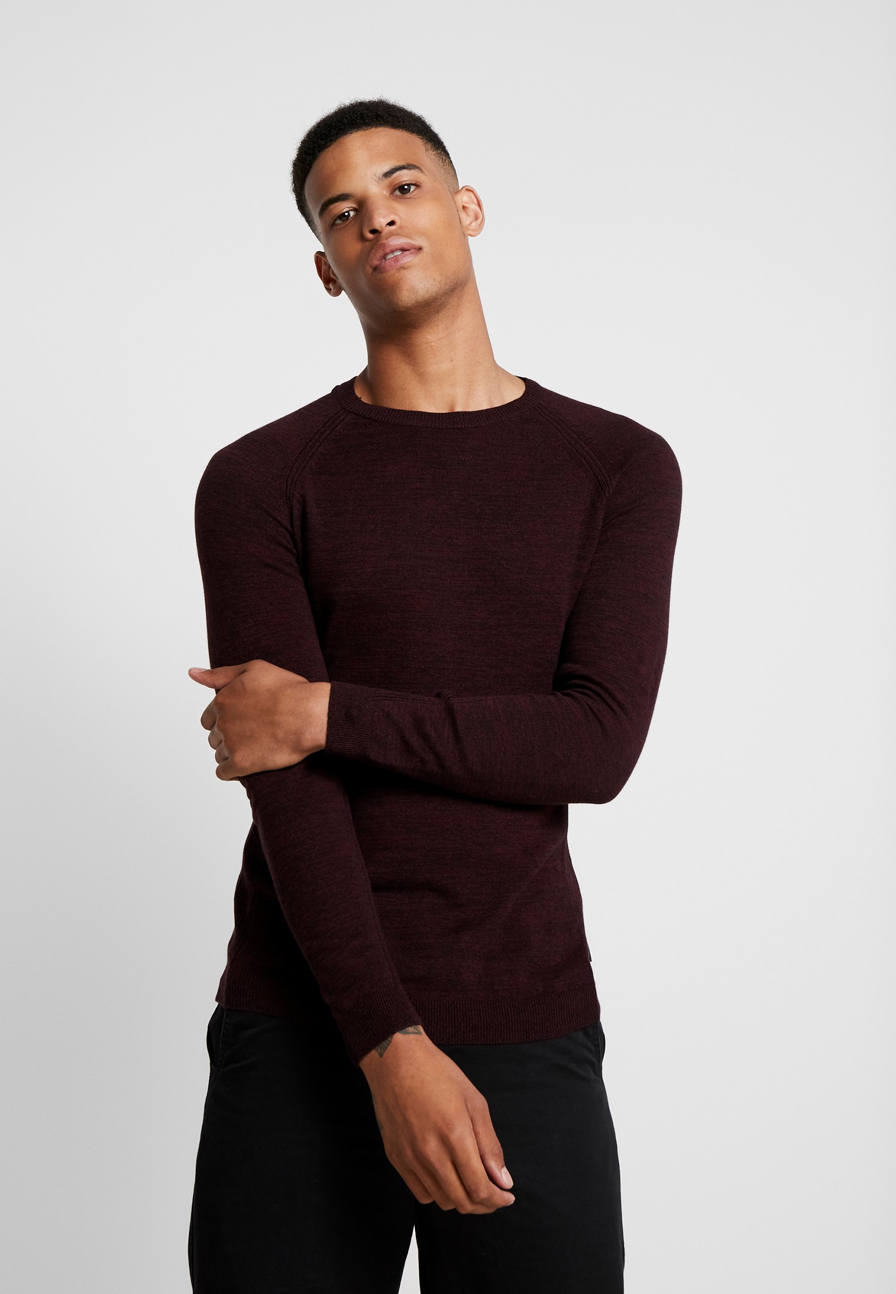 Bordeaux Fine Yourturn Twisted Mottled CrewneckPullover thrdxsQC