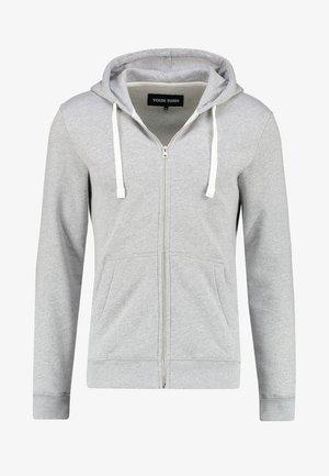 Mikina na zip - light grey melange