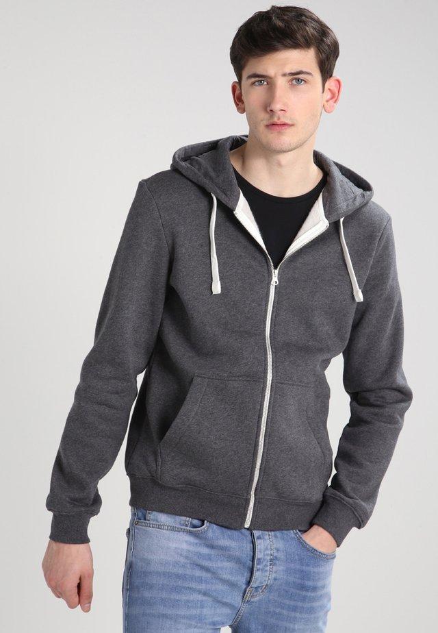 Mikina na zip - dark grey melange