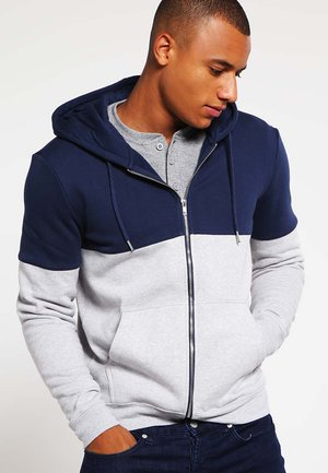 veste en sweat zippée - mottled grey/dark blue