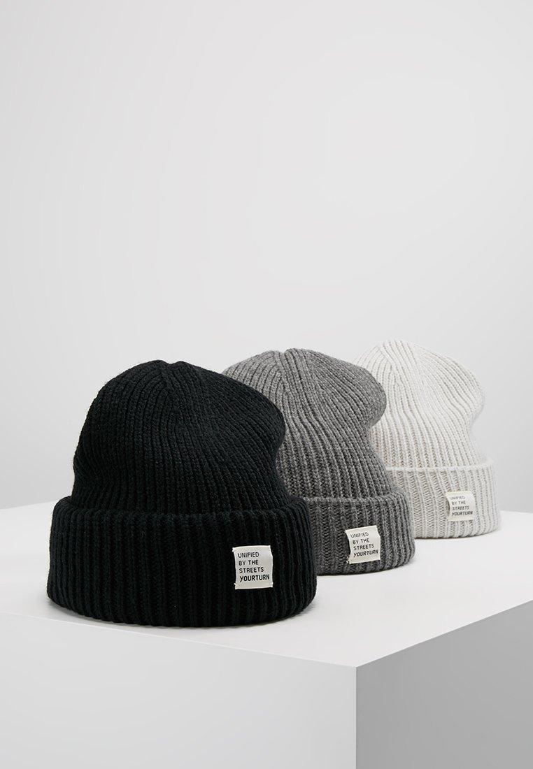 YOURTURN - 3 PACK - Čepice - off-white/dark gray/black