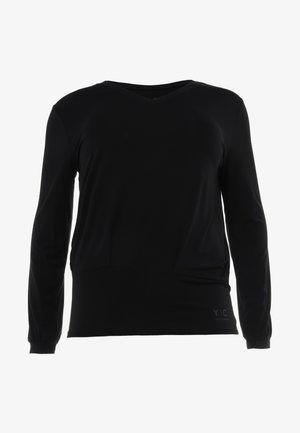 V NECK - T-shirt à manches longues - black