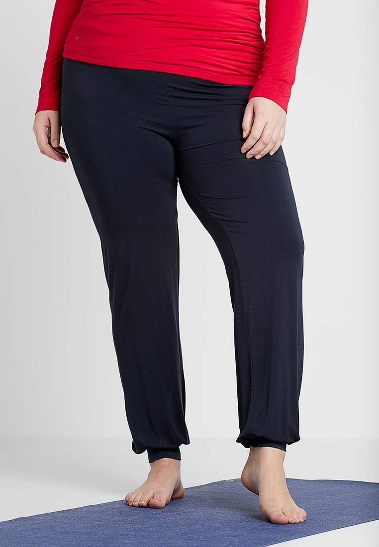 YOGA CURVES - LONG PANTS ROLL DOWN - Spodnie treningowe - midnight-blue