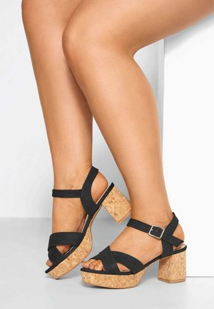 PLUS SIZE IN EXTRA WIDE  - Ankle cuff sandals - black