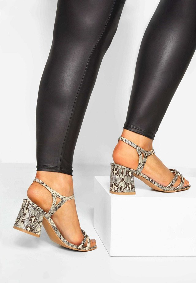 LIMITED COLLECTION STONE SNAKE PRINT DOUBLE STRAP  - High heeled sandals - brown