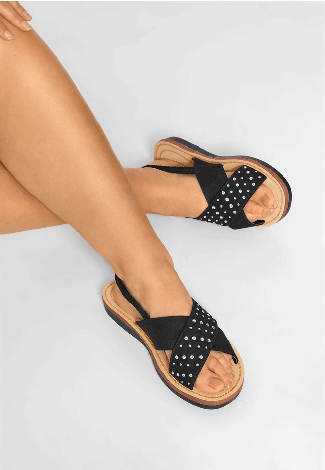 CROSS OVER DIAMANTE IN EXTRA WIDE FIT - Sandals - black