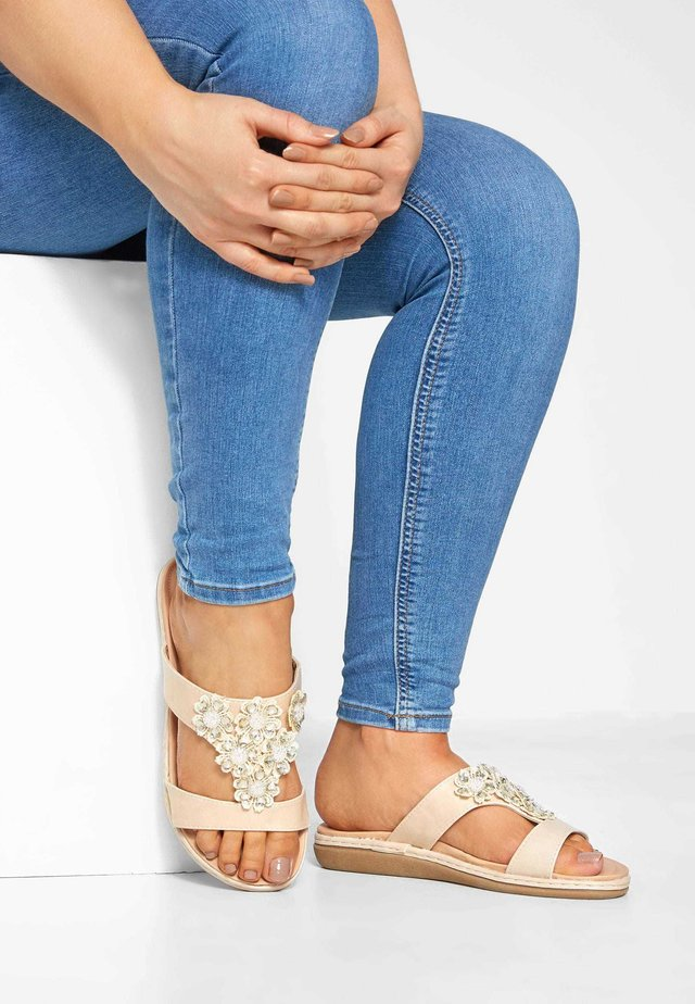STONE FLOWER DIAMANTE  - T-bar sandals - beige