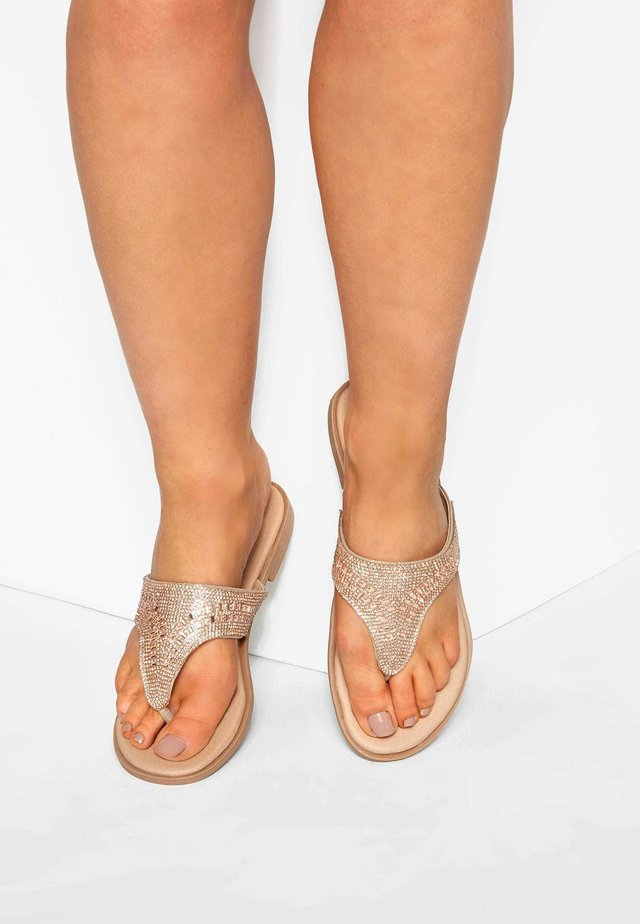 DIAMANTE IN EXTRA WIDE FIT - T-bar sandals - pink