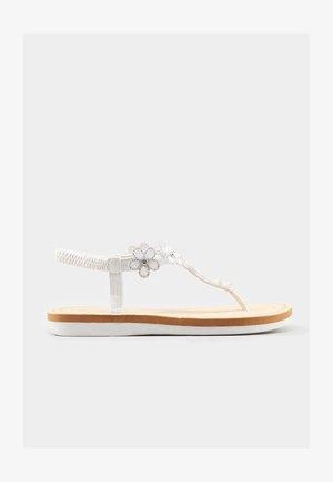 DIAMANTE FLOWER  - T-bar sandals - white