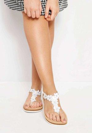 DIAMANTE FLOWER  - T-bar sandals - white