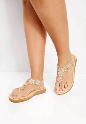 DIAMANTE FLOWER  - T-bar sandals - gold