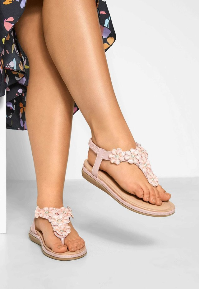 PINK FLOWER DIAMANTE IN EXTRA WIDE FIT - T-bar sandals - pink
