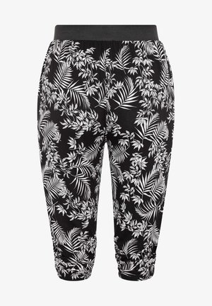BLACK TROPICAL LEAF CROPPED - Trousers - black
