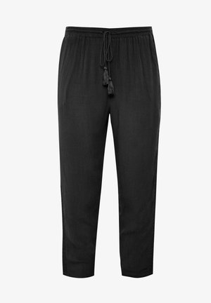 BLACK CRINKLE EMBROIDERED - Trousers - black