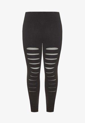BLACK RIPPED MESH INSERT - Leggings - Trousers - black