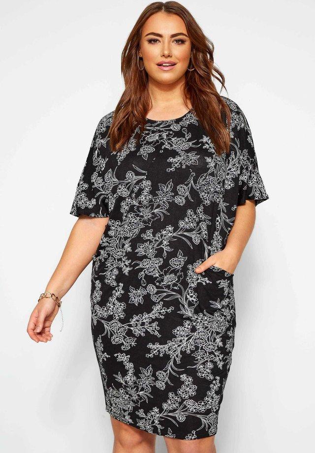 FLORAL DRAPE POCKET COCOON - Day dress - black