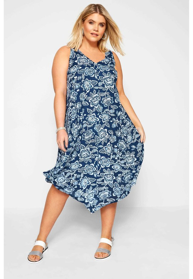 FLORAL SWING - Day dress - blue