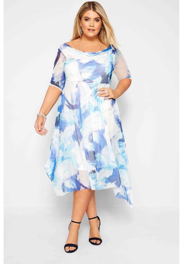 BRUSHSTROKE COWL  - Day dress - blue