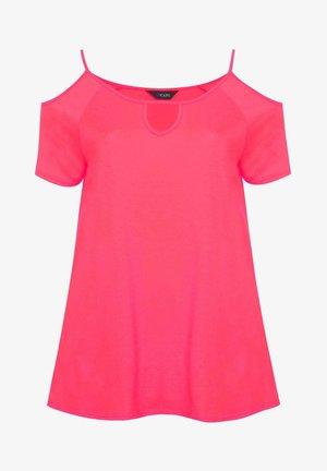 STRAPPY COLD SHOULDER - T-Shirt print - pink