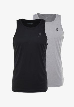 2 PACK - Koszulka sportowa - black/mid grey melange