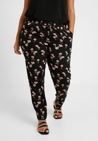 Zizzi - EXCLUSIVE EFLORAL WIDE PANT - Kalhoty - black combo - 0