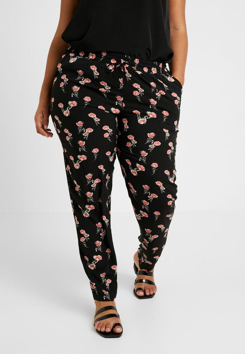 Zizzi - EXCLUSIVE EFLORAL WIDE PANT - Pantaloni - black combo