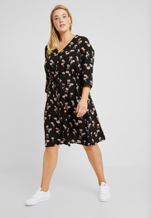 EXCLUSIVE FLORAL 3/4 DRESS - Skjortekjole - black