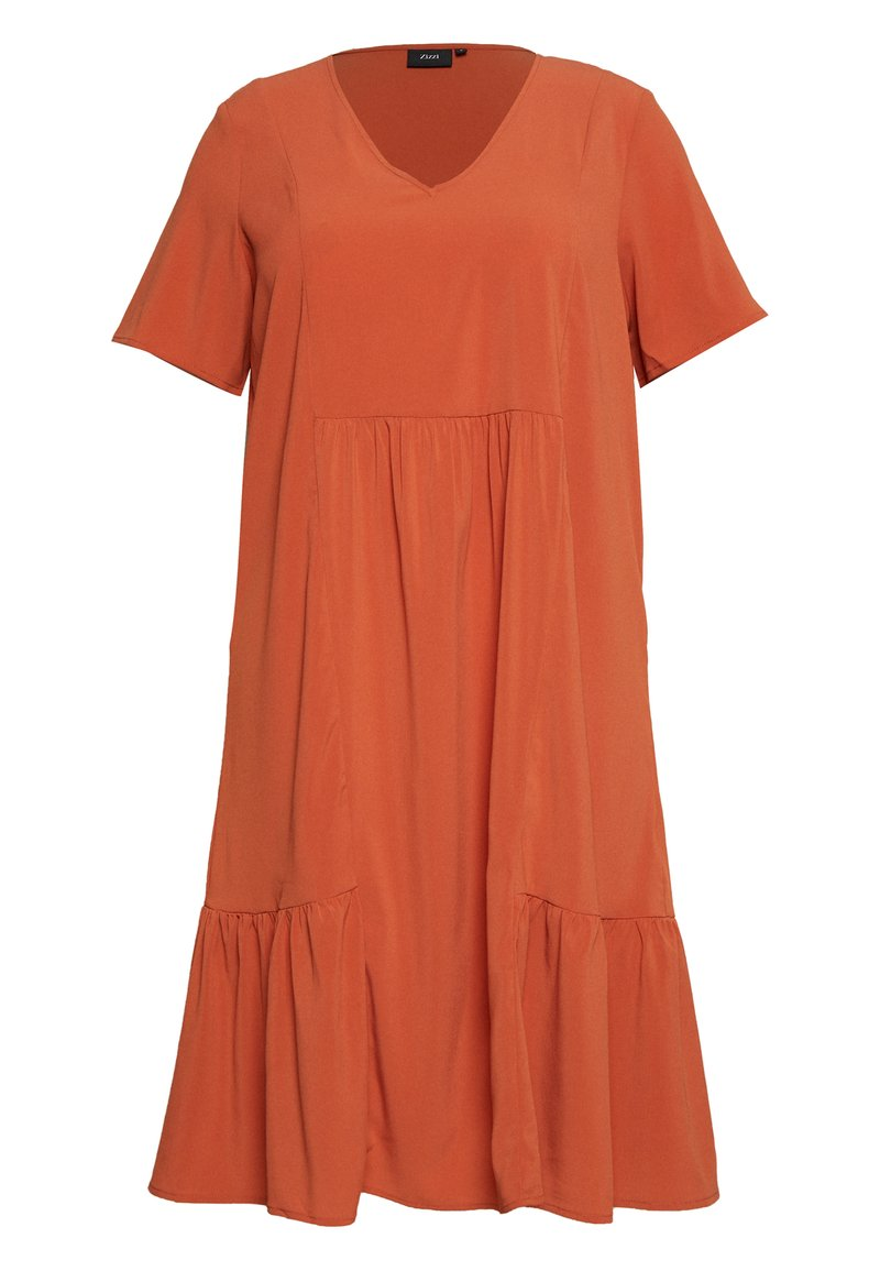 Zizzi - MCOMO KNEE DRESS - Day dress - burnt brick