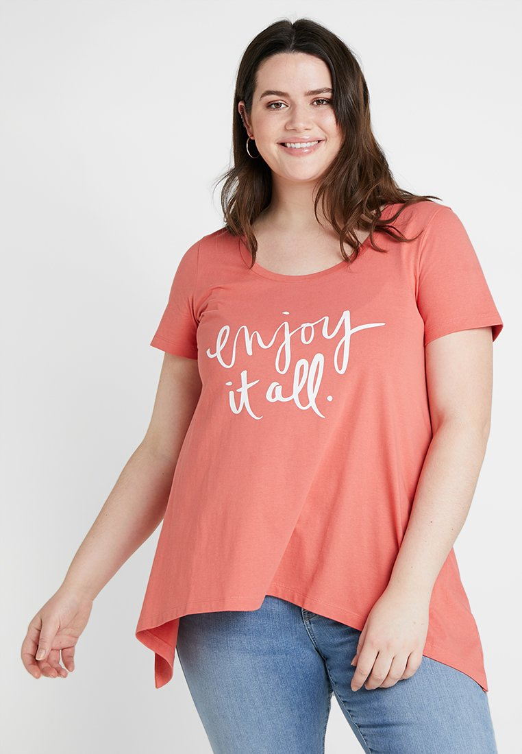 Zizzi - T-shirt con stampa - faded rose