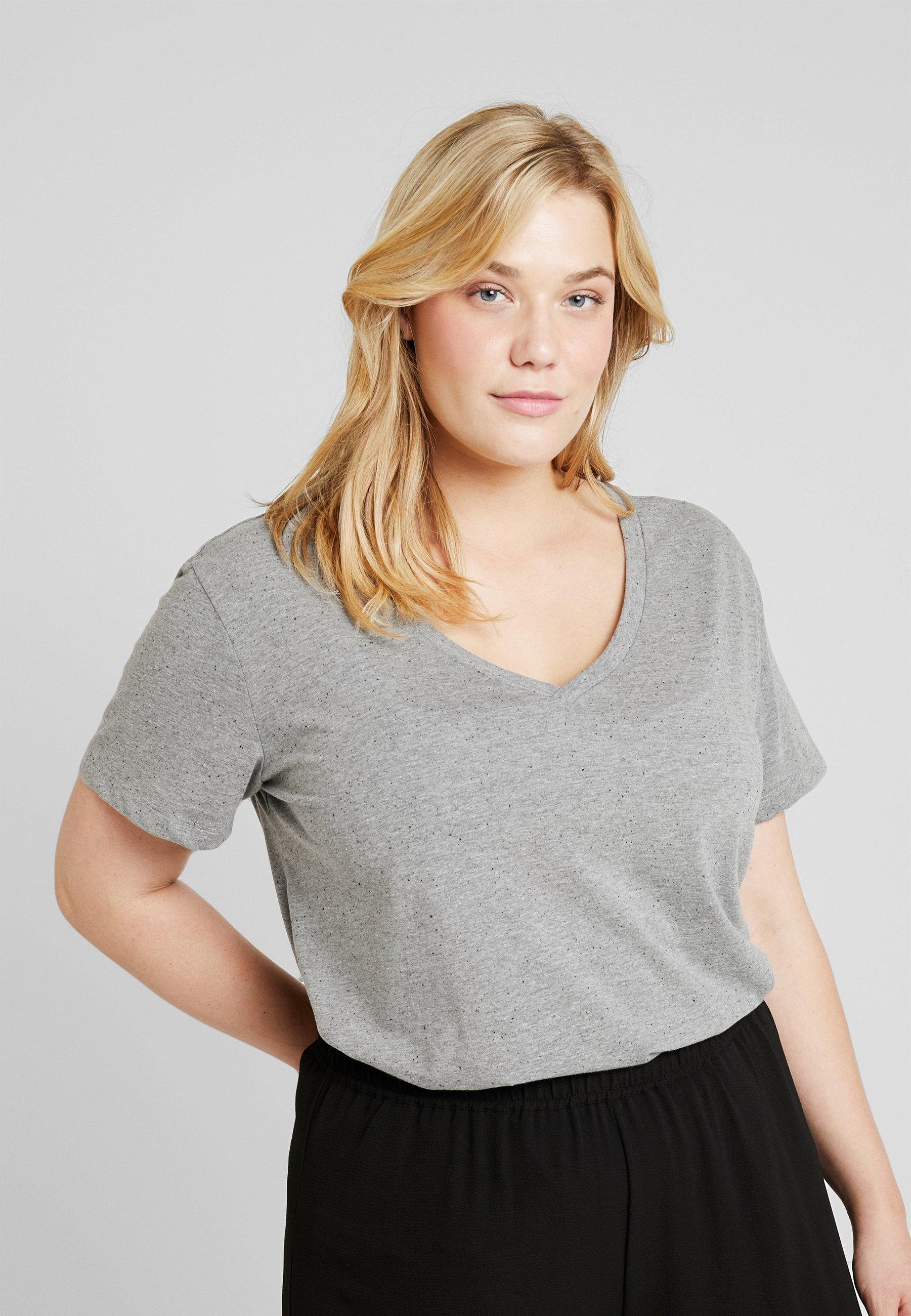 Grey Basic Light shirt Zizzi Melange T dCoBxWre