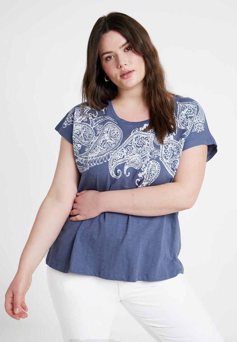 Zizzi - PAISLEY PRINT SHORT SLEEVE - T-Shirt print - vintage indigo/white