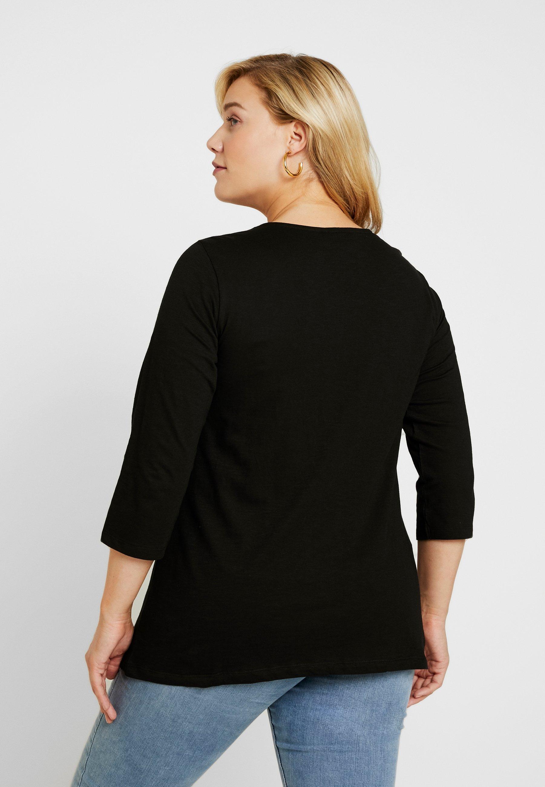 shirt Black À Holly Zizzi Longues Manches TrimT Ladder kZTwOuPiX