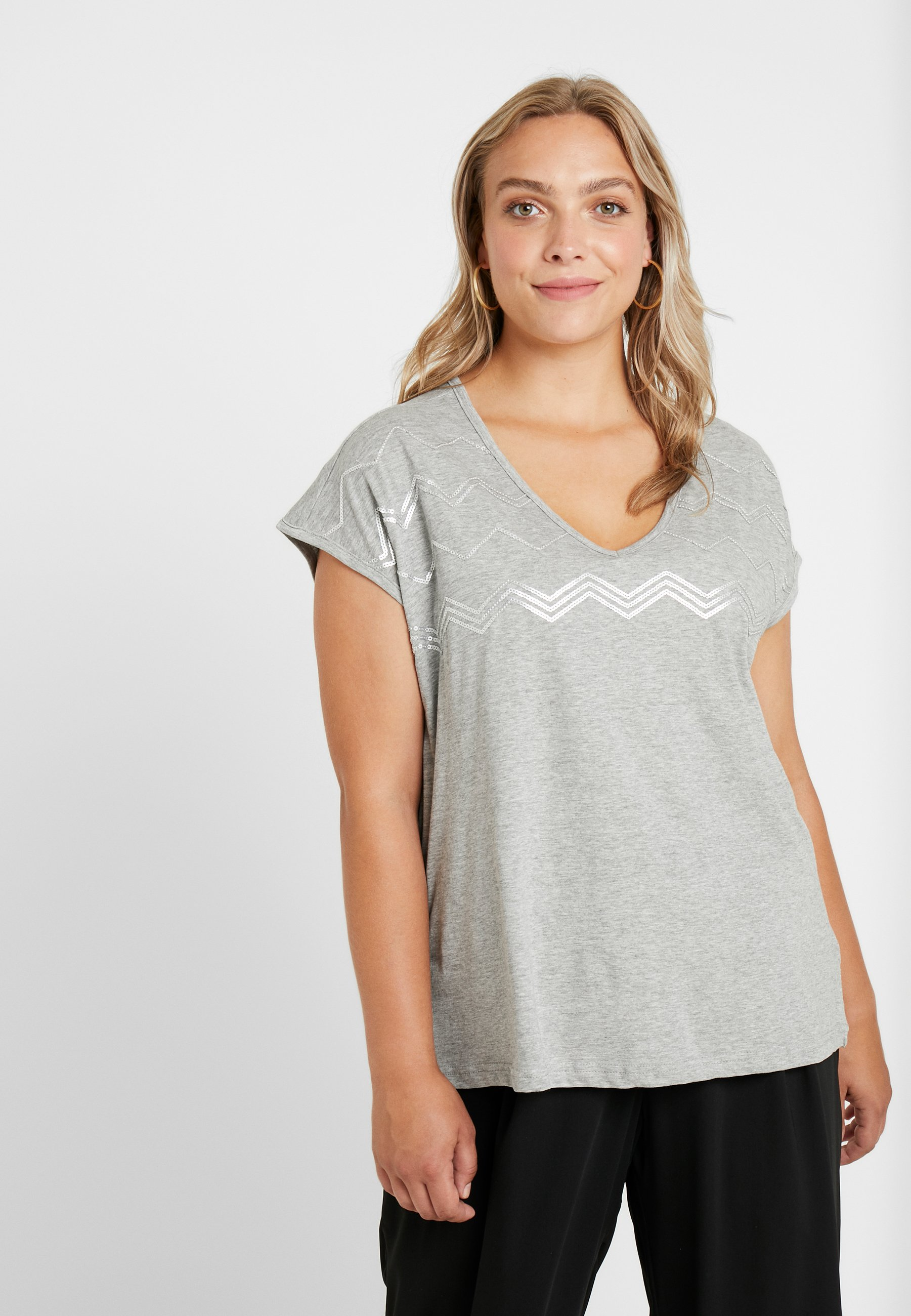 Melange Mjolie shirt Light Grey SequinT Zizzi Imprimé Ov8Pym0Nnw