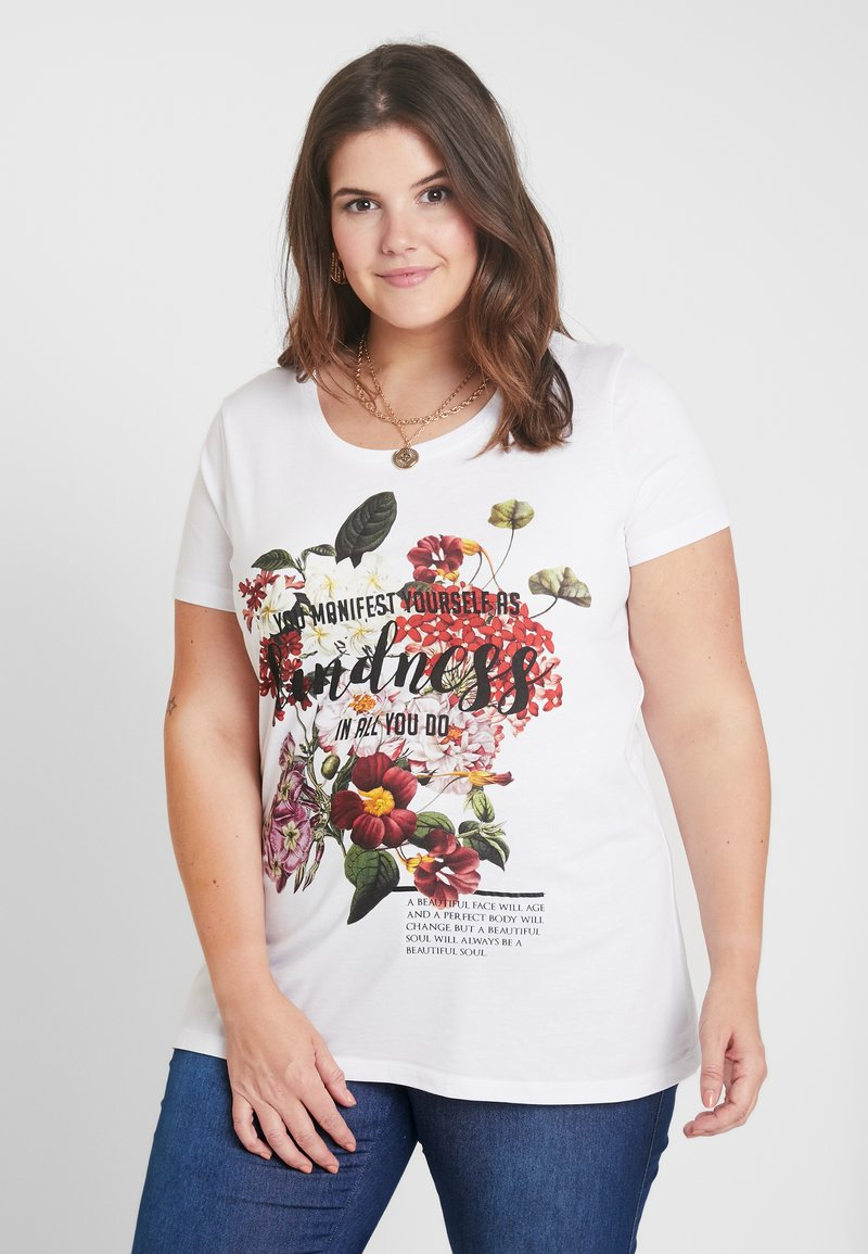 Zizzi - XFILI - T-shirt med print - bright white