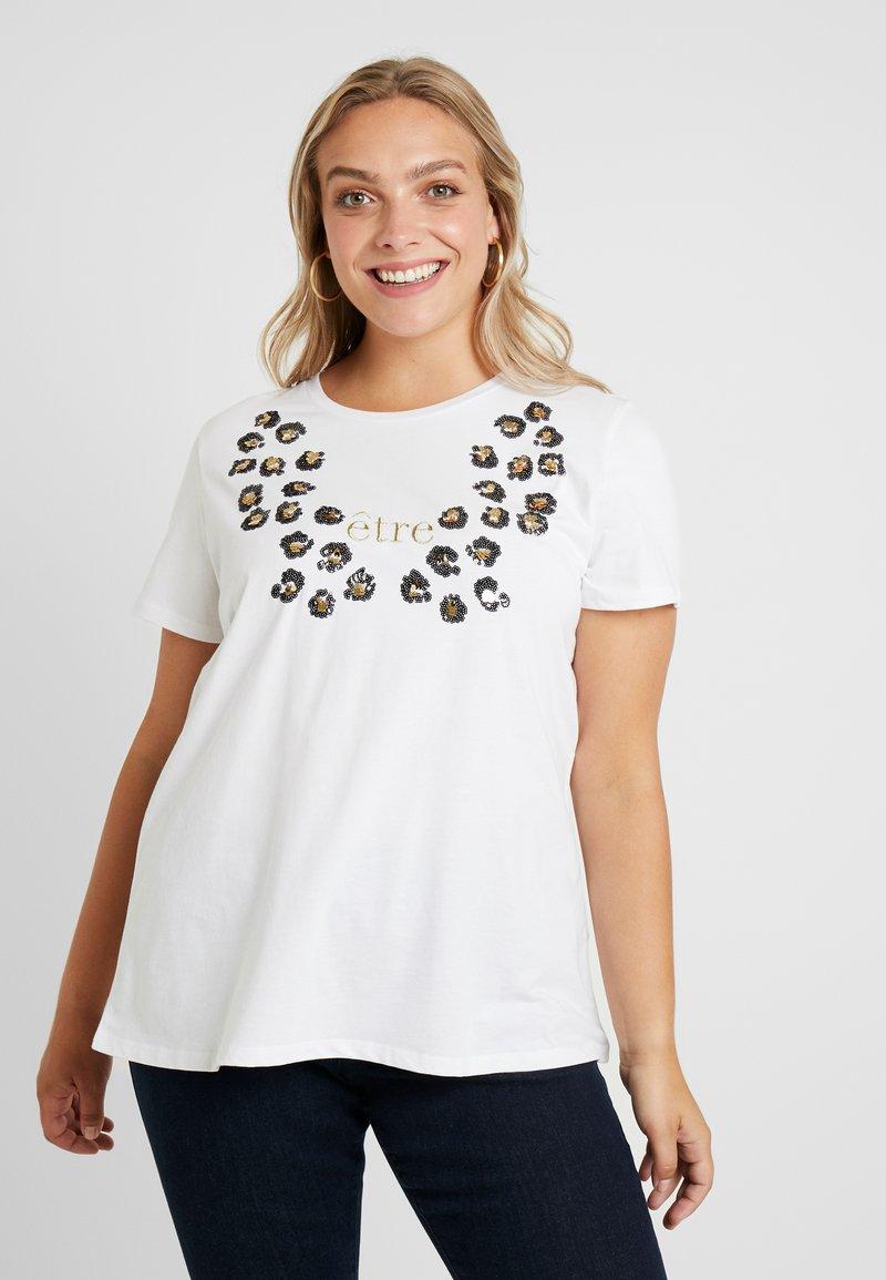 Zizzi - XETRE - Print T-shirt - bright white