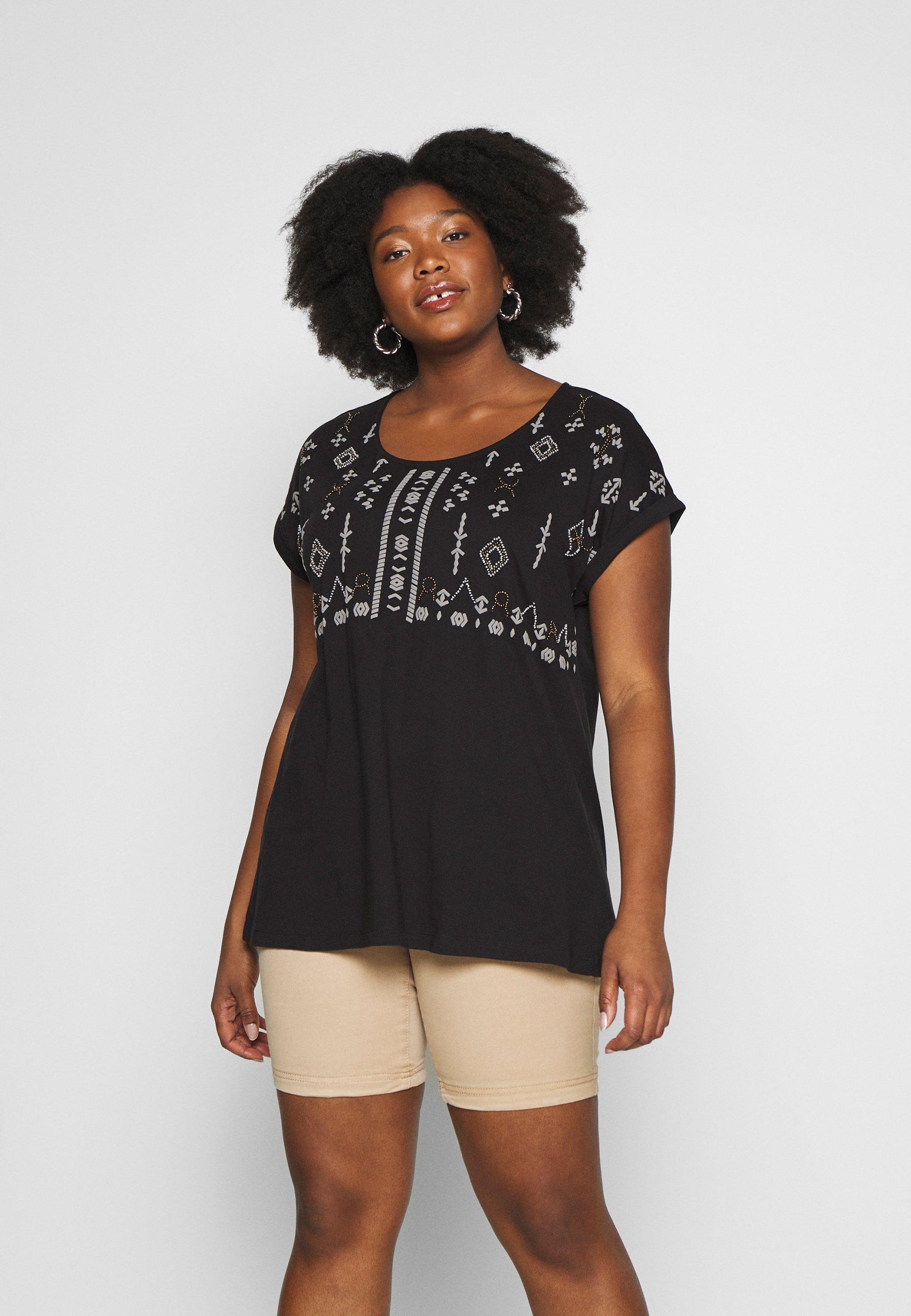 Zizzi MSADIE - T-shirt z nadrukiem - black