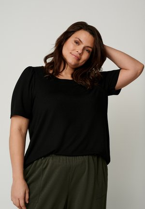 SHORT PUFF SLEEVES - Basic T-shirt - black