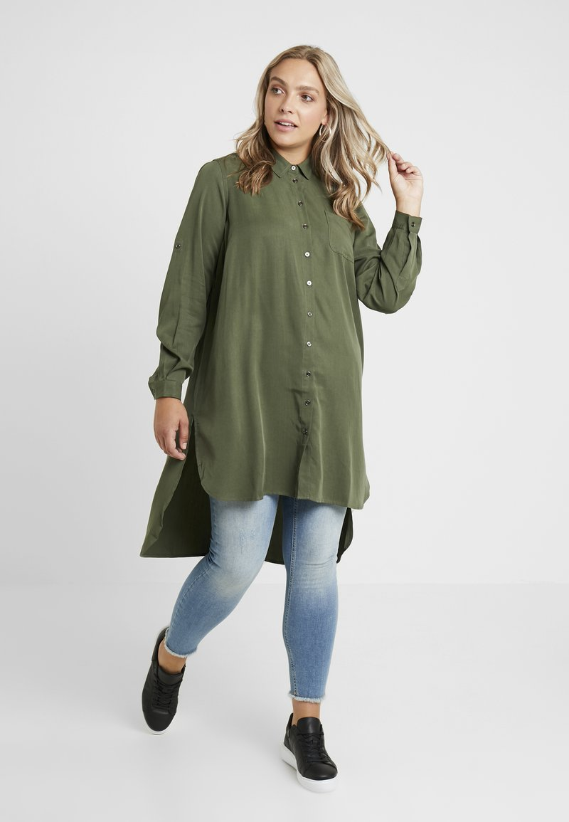 Zizzi - JACACIA - Button-down blouse - rifle green