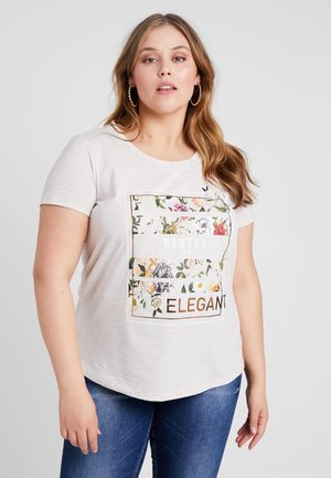 PURE V NECK - T-shirt imprimé - oatmeal melange
