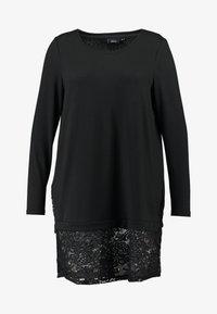 Zizzi - LUCCA LACE  - Stickad tröja - black - 4