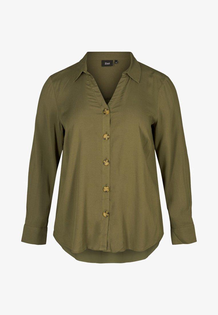 Zizzi - Button-down blouse - dark green