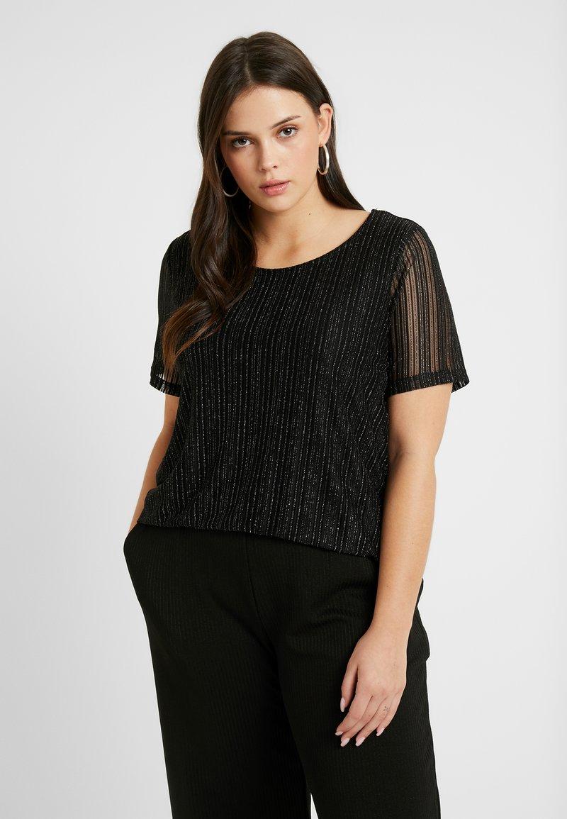 Zizzi - EANNA - Camiseta estampada - black/silver