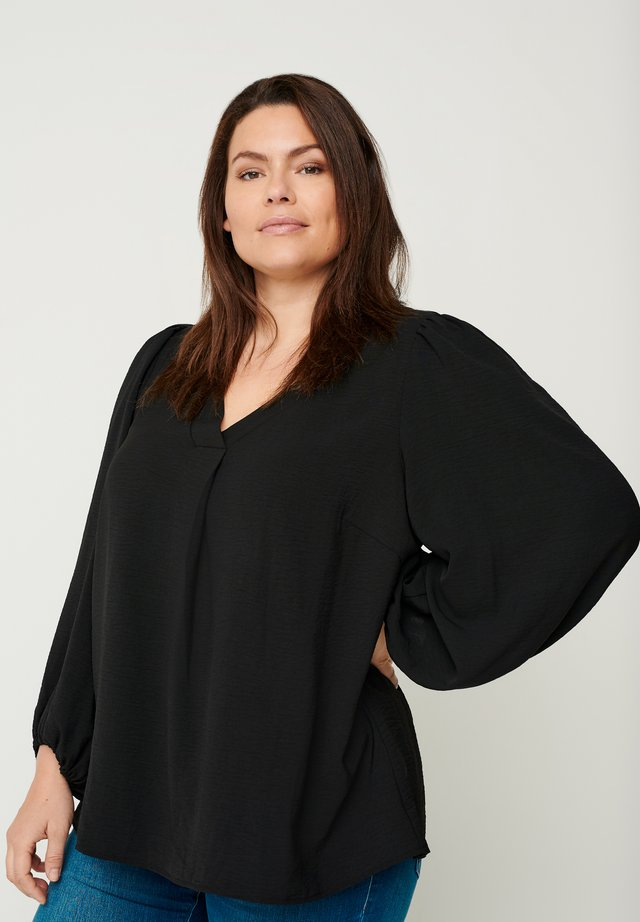 WITH PUFF SLEEVES - Blus - black
