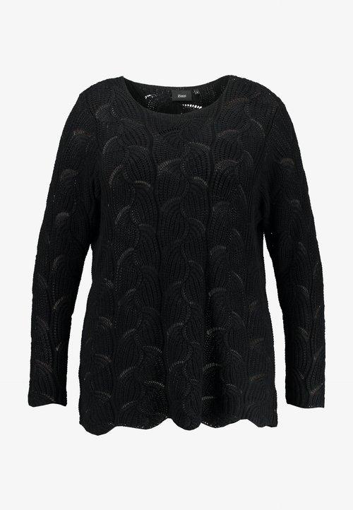 Zizzi RAJA - Sweter - black Odzież Damska UVCC-XE2 nowy