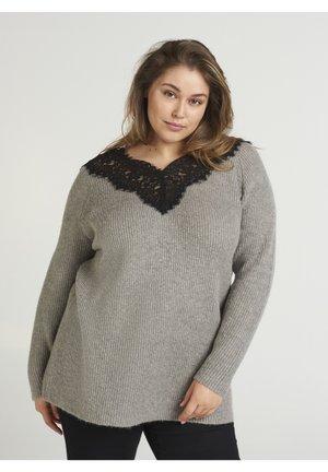 MIT WOLLANTEIL - Sweter - grey