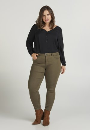 SUPER SLIM - Jeansy Skinny Fit - green