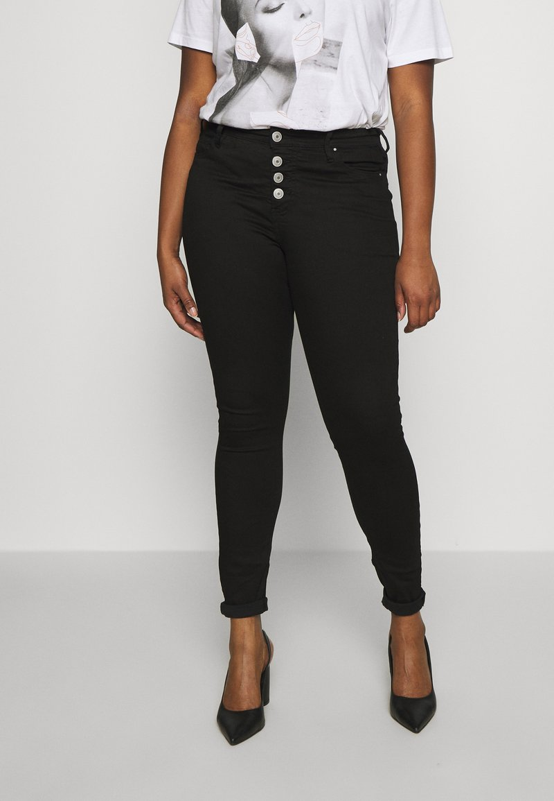 Zizzi - AMY BUTTON DETAIL - Jeans Skinny Fit - black denim