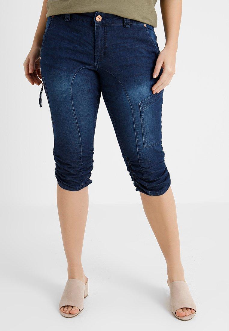 Zizzi - CAPRI - Jeans Shorts - dark blue denim